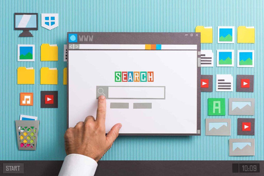 zoekmachine homepagina op een bureaublad van een computer