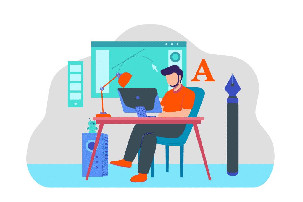 tekening van grafisch ontwerper die op zijn laptop zit om iets te designen
