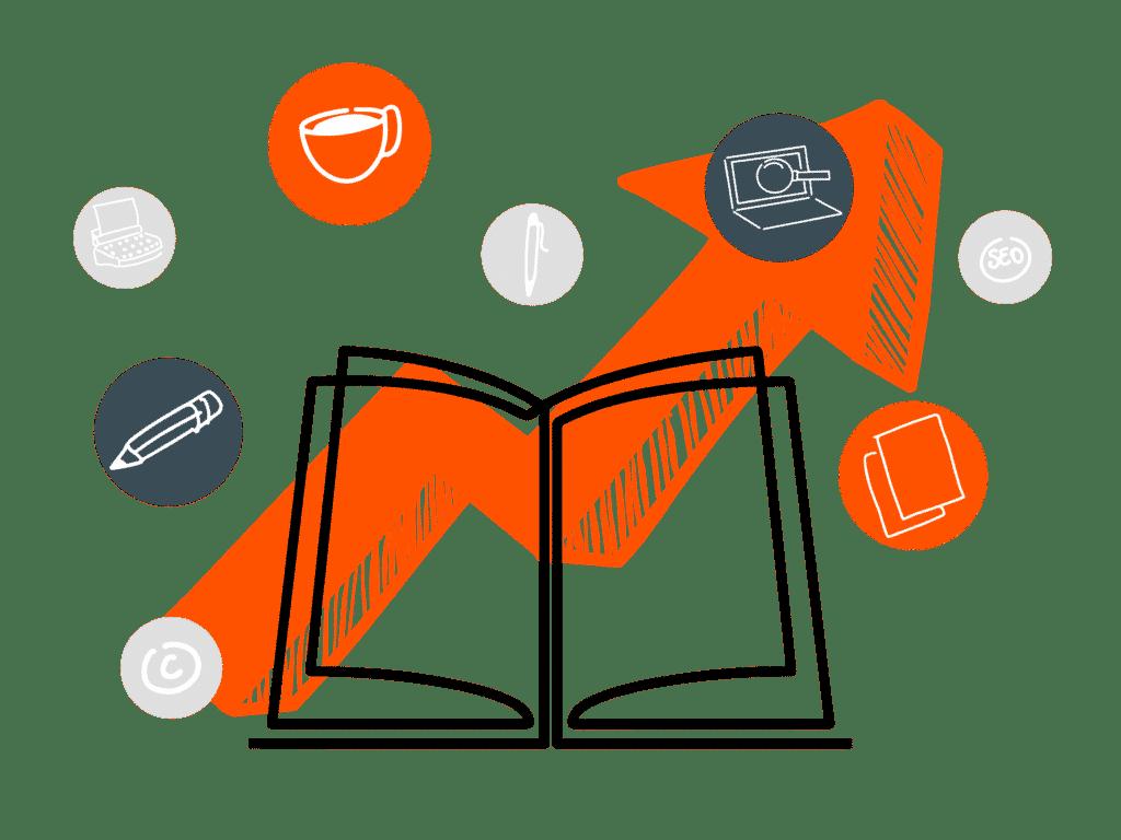 een open boek met de belangrijke elementen van contentmarketing zoals zoekmachine optimalisatie zoekwoordenonderzoek