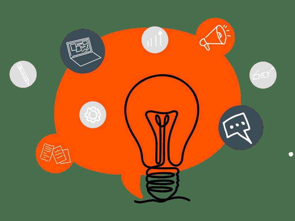 Een gloeilamp die staat voor het uitdenken van marketing ideeën, zoals campagnes, content marketing, zoekmachine optimalisaties, nieuwsbrieven en meer